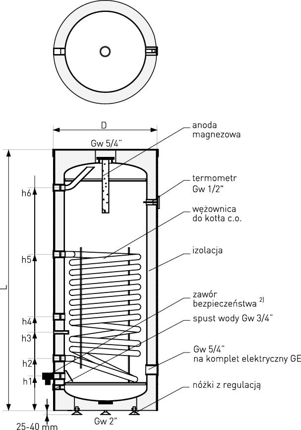 Schemat wymiennika c.w.u. Mini Tower pojemność: 100 - 140 litrów